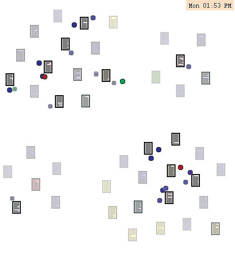 <p>Figure 11.1</p><p>Nelson Minar, <em>Visualizing the Crowds at a Website</em>* (1999). This visualization sketch displays visitors to a page as colored dots and one can see them move from page to page. Pages with recent visitors are bright (Minar and Donath 1999).</p>