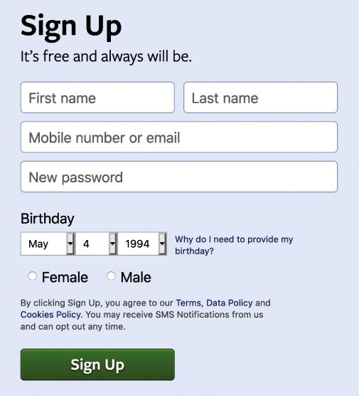 "<p>Figure 4.3: Detailed view of Facebook's new account creation page, circa 2018. Note that you still have to choose ""Female"" or ""Male""—a binary choice—when you sign up. Screenshot by Lauren F. Klein.</p>"
