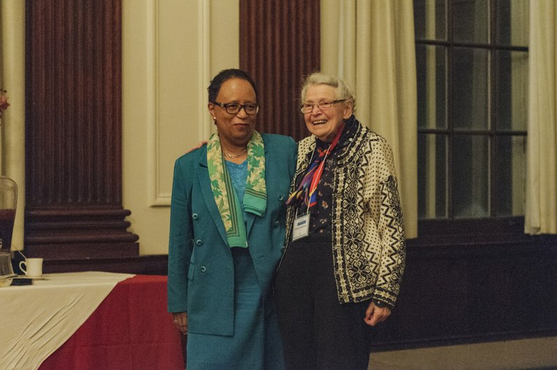 Millie and President of RPI Shirley Ann Jackson, at a banquet held in Millie's honor in 2016. Photo credit: Jack Wellhofer