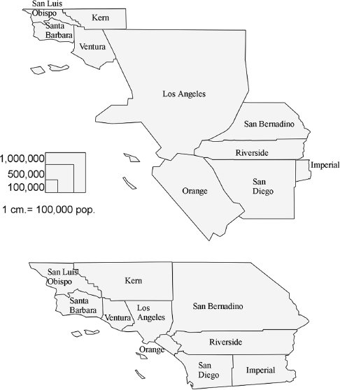 """<p><a href=""""#c11247_003.xhtml#fig_004a"""">Figure 3.4</a> Two views of Southern Californian political boundaries in 2001. The first reflects the general population, the second only the health-insured population. A lack of health insurance would result in many persons being unable to afford a graft organ transplant. Maps by author.</p>"""