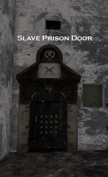 """<p>First person view of the """"Slave Prison Door."""" Unlike the adjacent prison for Europeans, this jail has a skull and crossbones telling everyone that slave prisoners would die.</p>"""