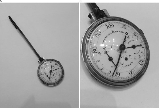 <p>Figure 4.7An eighteenth-century example of the early body-worn pedometers made by Spencer and Perkins. The long fob would have attached to the wearer's belt or pants' waist. While not visible in the image, the iron hands still show evidence of blueing, a process that renders the metal a brilliant blue and is an indicator of expense. From the author's collection.</p>