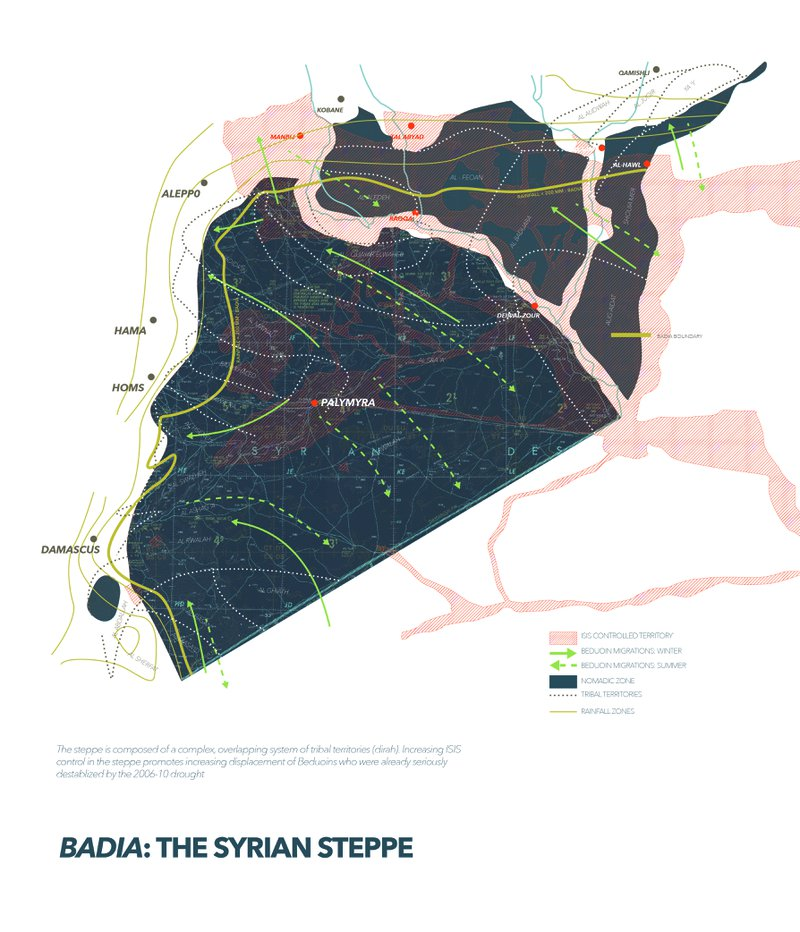 Fig. 2: Map. Overlapping territorial claims of the Syrian steppe demonstrate how mobile tribal territories meet climatic regimes and ISIS territorial claims. Drawing by Lizzie Yarina. Data sourced from MAAR (1999); Masri (1964); World Atlas, Publisher Liban bookshop Beirut and Pabot, 1956; IHS Conflict Monitor (20117).