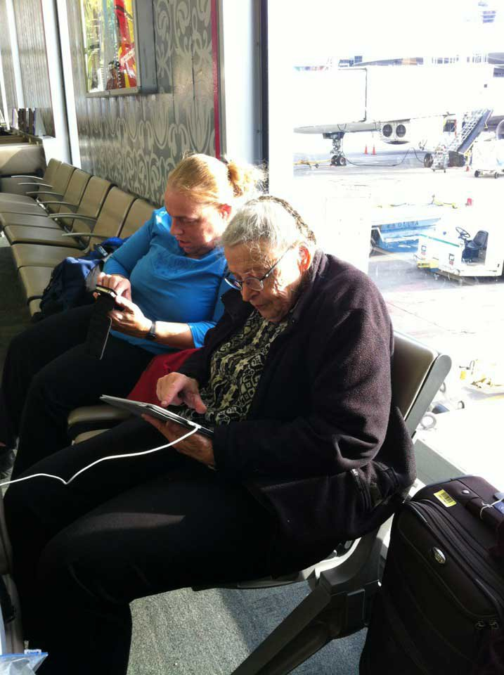 Me and Mom, working at the airport. Photo credit: Geof Cooper