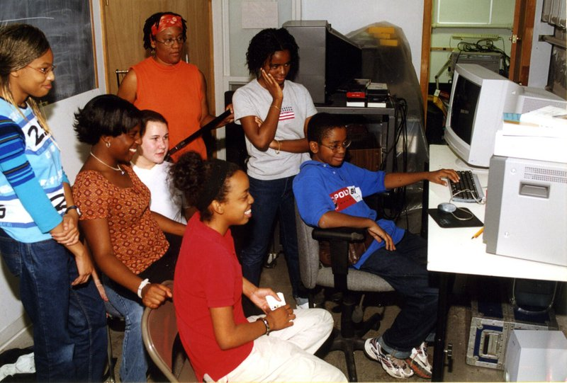 <p>Scribe Video Center in the year 2000, the Documentary History Project for Youth.</p>