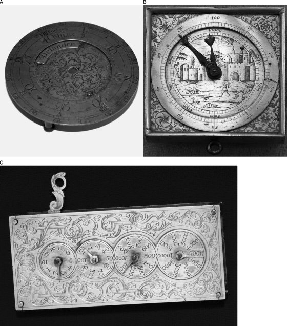 <p>Figure 4.5(a) Delander waywiser brass face. Photo by Leah Newsom. (b) German 1590 pedometer. Image courtesy of the German National Museum in Nuremberg. (c) Pedometer, gilded brass and silver, cord operated, 1682–1720. Courtesy of the Science Museum Group Online Collection.</p>