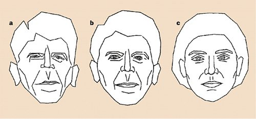 <p>Figure 8.15</p><p>Susan Brennan, <em>Caricature Generator</em> (1985). Susan Brennan's <em>Caricature Generator </em>(Brennan 1985) was a program that created facial caricatures algorithmically. Here, the subject is Ronald Reagan. The image on the right is the norm, the middle is undistorted (source) image of Ronald Reagan, and the image on the left is Reagan caricatured by this program using that norm and source.</p>