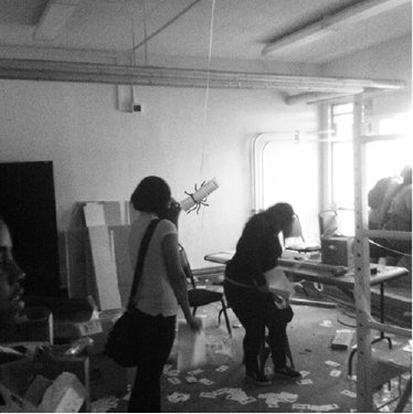 <p>Figure 4.3 Students exploring an unused classroom in an otherwise overcrowded school</p>