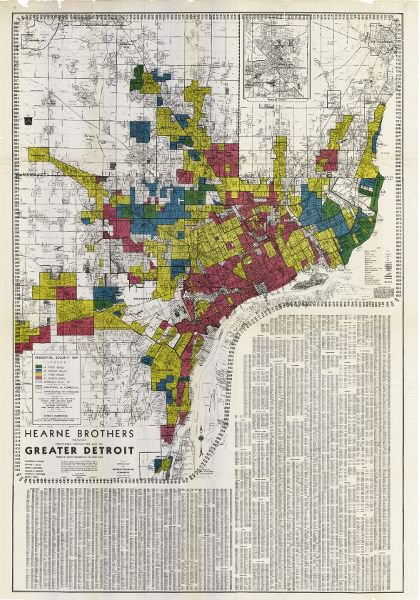 "<p>Figure 2.2: Residential Security Map, a redlining map of Detroit published in 1939. Created as a collaboration between the (all white and male) Detroit Chamber of Commerce and the (majority white and male) Federal Home Loan Bank Board, the red colors signify neighborhoods that these institutions deemed red neighborhoods, at ""high risk"" for bank loans. Courtesy of Robert K. Nelson, LaDale Winling, Richard Marciano, Nathan Connolly, et al., Mapping Inequality: Redlining in New Deal America. <em>Source:</em> Robert K. Nelson, LaDale Winling, Richard Marciano, Nathan Connolly, et al., ""Mapping Inequality,"" in <em>American Panorama</em>, ed. Robert K. Nelson and Edward L. Ayers, accessed May 13, 2019, <a href=""https://dsl.richmond.edu/panorama/redlining/"" title="""">https://dsl.richmond.edu/panorama/redlining/#loc=10/42.3475/-83.1365&amp;opacity=0.8&amp;city=detroit-mi</a>.</p>"