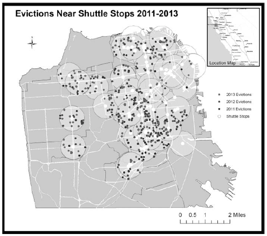 "<p>Tech Bus Stop Eviction Map by the Anti-Eviction Mapping Project, 2014. Plots evictions with ""Google Bus Stops"" in San Francisco. Their analysis showed that 69% of no-fault evictions in the city occurred within four blocks of a tech bus stop.</p><p>Credit: Anti-Eviction Mapping Project</p><p>Source: http://www.antievictionmappingproject.net/techbusevictions.html</p><p>Permissions: PENDING</p>"