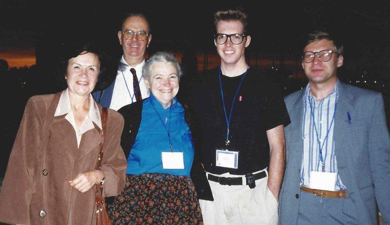 Elena Rogacheva, John Stockholm, Millie Dresselhaus and others at ICT 99 in Baltimore. Photo courtesy of Elena Rogacheva