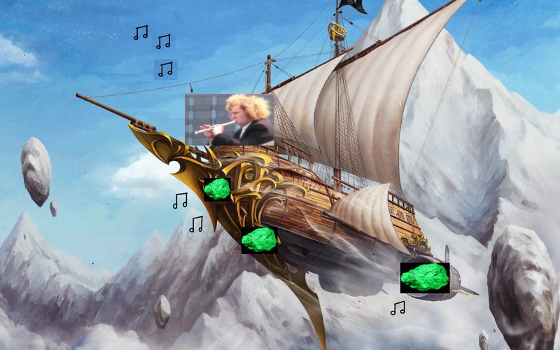 <p>An artist rendition (really bad collage) of the musical navigating ships from the story</p>