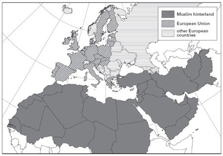 <p><strong>Fig. 3.8</strong><br>Europe's Muslim hinterland. The population ratio of Muslim countries to EU-25 will rise from 1.4 in 2005 to 2.75 by 2050.</p>