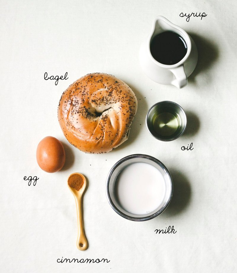 "<p>""recipe; bagel french toast"" by Molly Yeh from My Name is Yeh, <a href=""http://mynameisyeh.com/mynameisyeh/2013/4/recipe-bagel-french-toast"" target=""_blank"">http://mynameisyeh.com/mynameisyeh/2013/4/recipe-bagel-french-toast</a>.</p>"