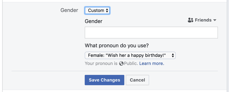 <p>Facebook's updated gender field, ca. 2018.</p><p>Credit: Facebook. Screenshot by Lauren F. Klein</p><p>Source: http://www.facebook.com</p>
