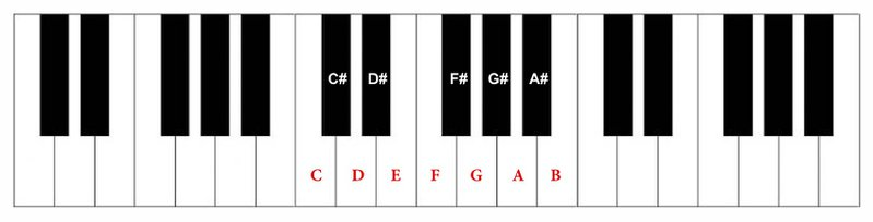 <p>Figure 5. Chromatic scale notes appearing on a piano diagram.</p>
