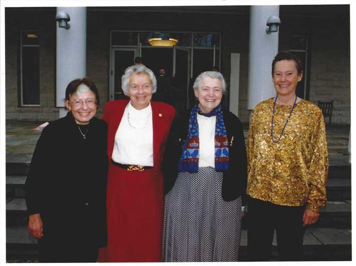 Myriam Sarachik, APS President 2003; Judy Franz, APS Executive Officer; Mildred Dresselhaus, AIP Governing Board Chair 2003-2004; and Helen Quinn, APS President-Elect 2003.  Photo taken in 2002.  Photo credit: APS
