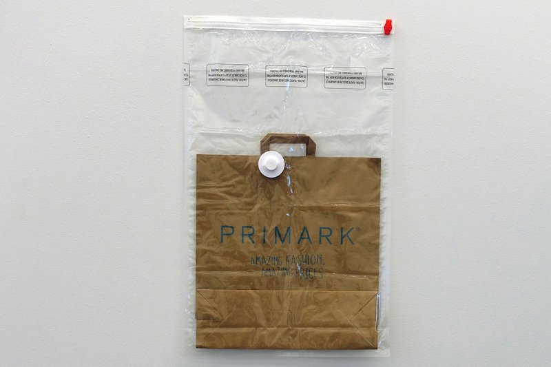 Bill Balaskas, Vacuum Bag, 2016. Paper bag, vacuum bag, 80 x 50 cm. Curator: Lanfranco Aceti. © Bill Balaskas. Courtesy of the artist.