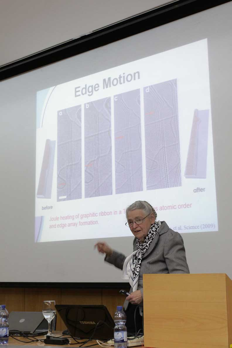 Millie lectures at the Technion.  Photo courtesy of the Technion