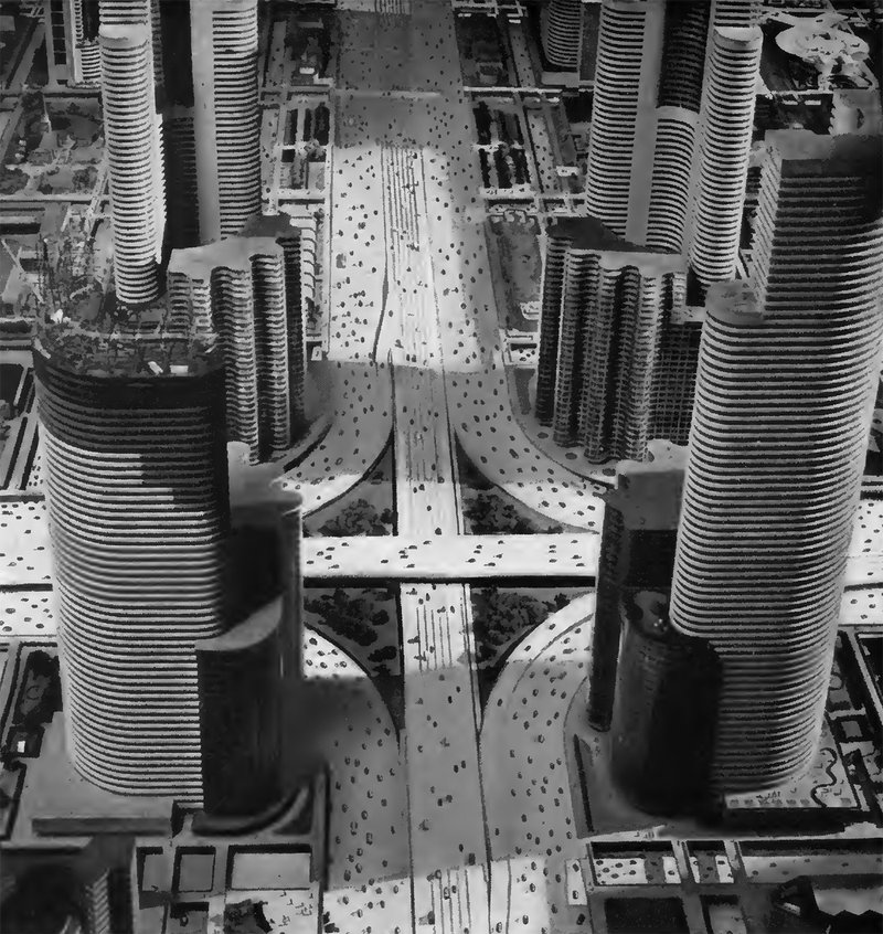 "<p>Figure 2.1: The Futurama exhibit created by Norman Bel Geddes for the 1939 World's Fair in New York City. Futurama, which was sponsored by General Motors, portrayed a vision for the city of 1960, where automobile collisions and traffic congestion would be eliminated.<br><br></p><p class=""figatr""><em>Source</em>: Norman Bel Geddes, <em>Magic Motorways</em> (New York: Random House, 1940), p. 240. Copyright © The Edith Lutyens and Norman Bel Geddes Foundation, Inc.</p>"