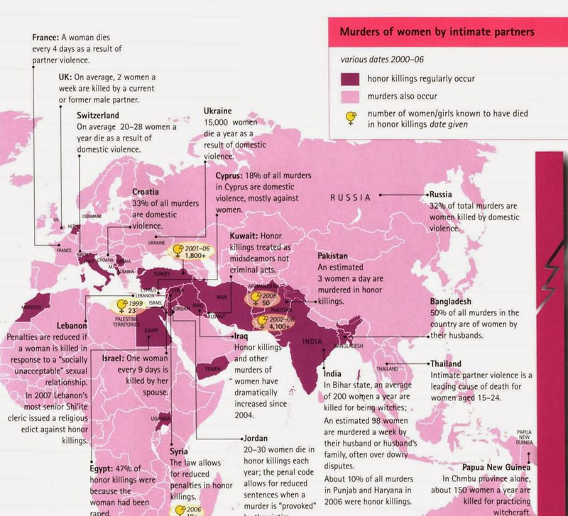 <p>A map from Joni Seager's <em>State of Women in the World </em>which depicts countries where honor killings occur.</p><p>Credit: Joni Seager, <em>State of Women in the World</em>, 2nd ed. (1997)</p><p>Source: http://bsumaps.blogspot.com/2014/05/maps-in-news.html</p>
