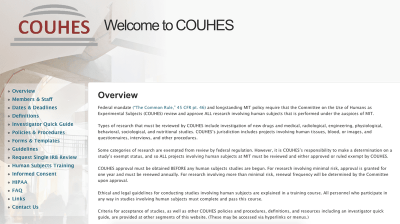 The next deadline for COUHES is October 25, 2018, for the meeting date November 15, 2018.