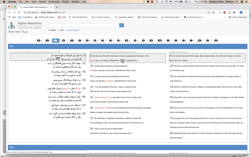 """<p class="""""""">Figure 10. A reading environment aligning English and German translations to a Persian original (the poetry of Hafez, <a href=""""http://divan-hafez.com/"""" title="""""""">Yousef 2019</a>b).</p>"""