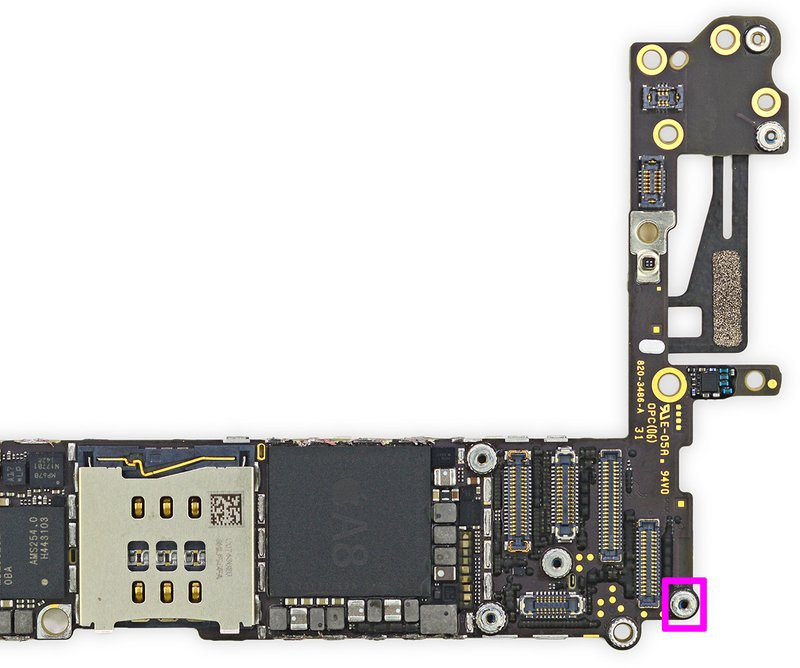 Figure  8. Location of the Apple Pay antenna connection, highlighted in pink.  Original image courtesy iFixit, CC-BY-NC-SA licensed.