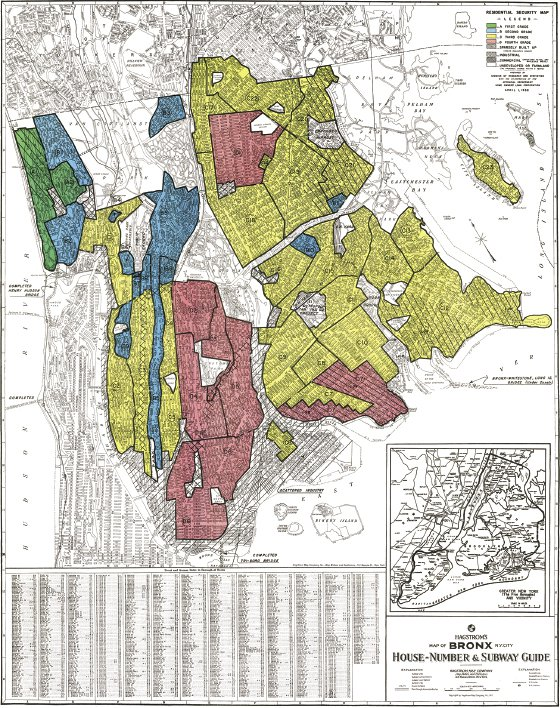 """<p><a href=""""#c11247_004.xhtml#fig_001a"""">Figure 4.1</a> In this 1938 residential security map of the Bronx, neighborhoods were constructed and then ranked on the basis of an economic index. """"Good"""" neighborhoods could get bank loans denied to others.</p>"""