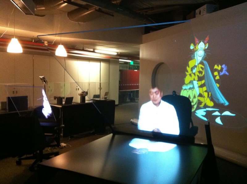 """<p>A hologram of Joi Ito (2016), director of the MIT Media Lab, the """"home of the misfits — the antidisciplinarians"""". Photo by Katerina Cizek</p>"""