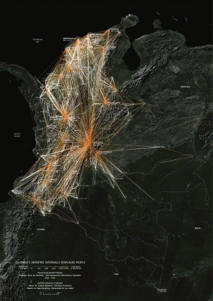 <p>Figure 8.2: <em>Reported Internally Displaced People</em>, a 2016 map of internally displaced people in Colombia from 1985 to 2015. From the project <em>Conflict Urbanism: Colombia </em>by the Center for Spatial Research at Columbia University, which looked at land-use patterns and displacement in Colombia over thirty years of armed internal conflict. The researchers worked with the organization Unidad para la Atención y Reparación Integral a las Víctimas, a massive data collection effort that documented millions of individuals. Courtesy of the Center for Spatial Research, Columbia University.</p>