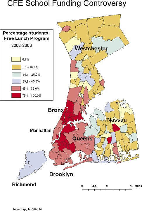 """<p><a href=""""#c11247_006.xhtml#fig_002a"""">Figure 6.2</a> Choropleth map of New York City school districts based on the percentage of students participating in free lunch programs, one element of the SAIPE-calculated general poverty index.</p>"""