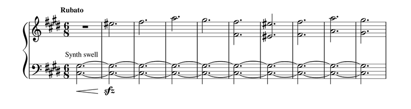 """<p>Figure 5. Piano reduction of Zimmer's and Wallfisch's cue """"2049"""" from <em>2049 </em>(begins at 00:01:53).</p>"""