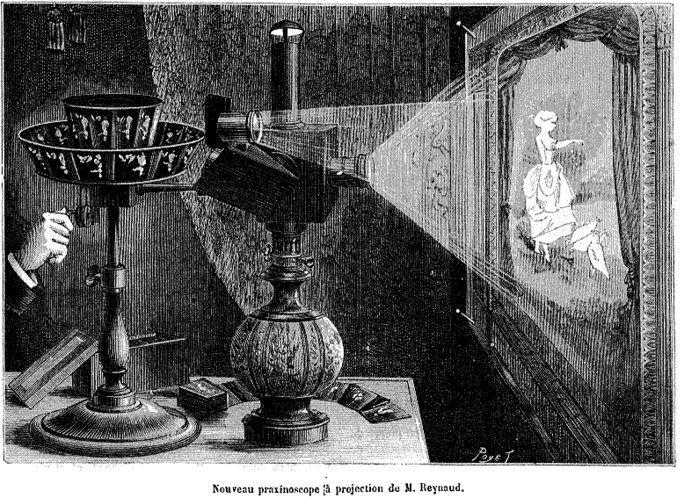"""<p>Figure 3.8</p><p>A praxinoscope, 1879. Experiments with """"persistence of vision""""-based technologies, the precursors to film, were increasingly common in the nineteenth century. The zoetrope, originally invented in China (approx. 180 ad) and its refined version, the praxinoscope (invented 1877), showed a sequence of images on a spinning cylinder (Needham and Wang 1972; Turner 1983).</p>"""