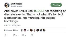 <p>Figure 6.2: Two tweets by Erin Simpson in response to <em>FiveThirtyEight's</em> erroneous interpretation of the GDELT dataset. Tweets by Erin Simpson on May 13, 2014.</p>