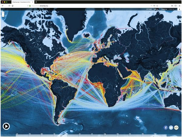 <p>Figure 7.2: A time-based visualization of global shipping routes, designed by Kiln in 2016, based on data from the University College London Energy Institute (UCL EI). The Ship Map website was created by Duncan Clark and Robin Houston from Kiln, and the dataset was compiled by Julia Schaumeier and Tristan Smith from the UCL EI. The website also includes a soundtrack: Bach's Goldberg Variations, played by Kimiko Ishizaka.</p>