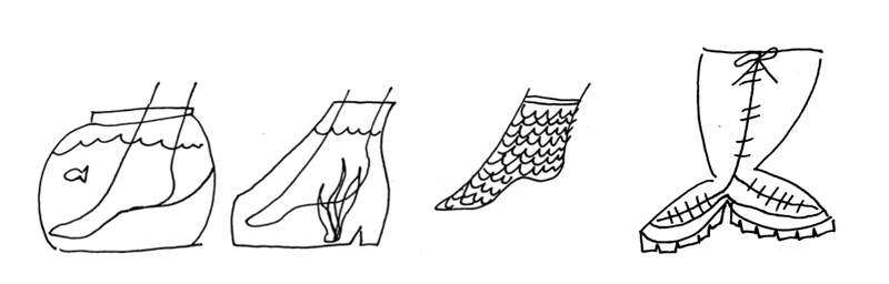 <p>The one on the far right is Doc Martens for mermaids.</p>