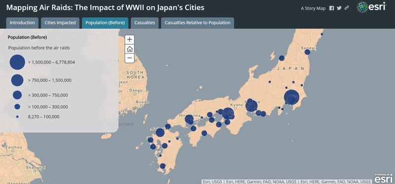 "<p>Storymap tab ""Population (Before)"": Japanese cities that were bombed are marked by a circle. The circle's size indicates the city's population size prior to its bombing.</p>"