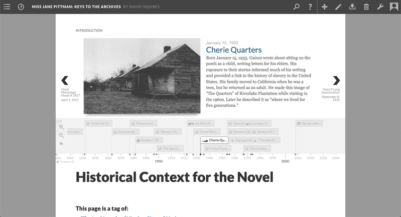 <p>Screenshot of an embedded timeline providing historical context for the novel assigned.</p>