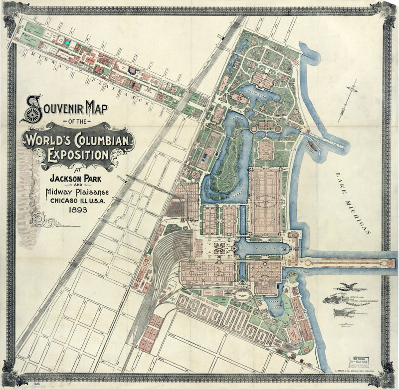 """<p class="""""""">Detailed map of the Columbian Exposition with blue dot marking the Chinese Village.</p>"""
