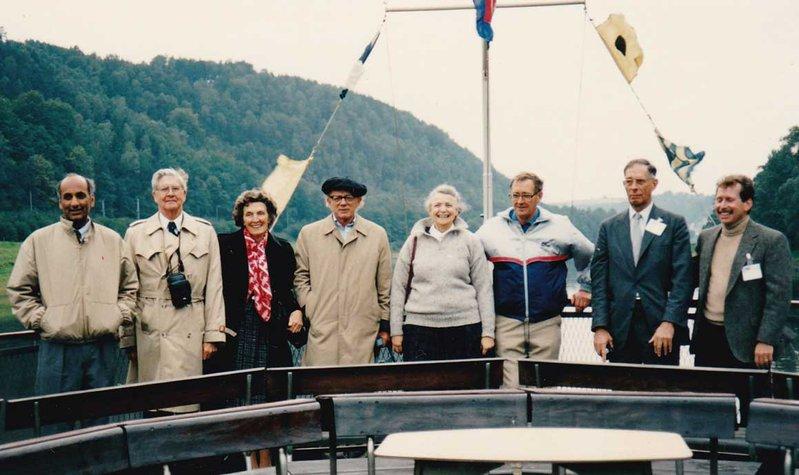 US Delegates on the Elbe River.  Praveen Chaudhari, Bill Havens, Bill's Wife, Herman Feshbach, Millie Dresselhaus, Hans Frauenefelder, Len Jossem, Don Shapero. Photo credit: Hiroshi Kamimura