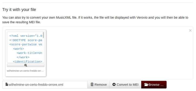 <p>Screenshot of uploading to Verovio converter</p>