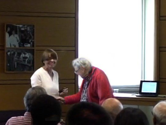 Millie shakes my hand at the Dasari Lecture, 2014.
