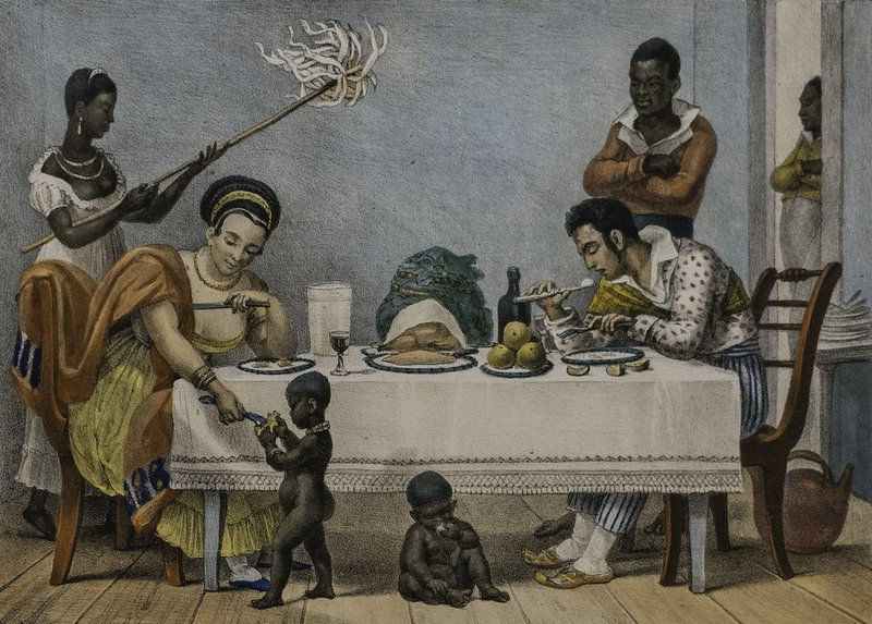 "<p>The painting is called ""A Brazilian Dinner"" and it was made in 1827 by French artist Jean-Baptiste Debret, depicting a wealthy merchant's family in Rio de Janeiro and the disparate abundance in the country. Source: <a href=""https://www.flickr.com/photos/141658979@N06/43019449564"">""A Brazilian family in Rio de Janeiro by Jean Baptiste Debret 1839 2""</a><em> by <a href=""https://www.flickr.com/photos/141658979@N06"">mr.kloney</a> is licensed under </em><a href=""https://creativecommons.org/licenses/by-sa/2.0/?ref=ccsearch&amp;atype=rich"">CC BY-SA 2.0</a>.</p>"