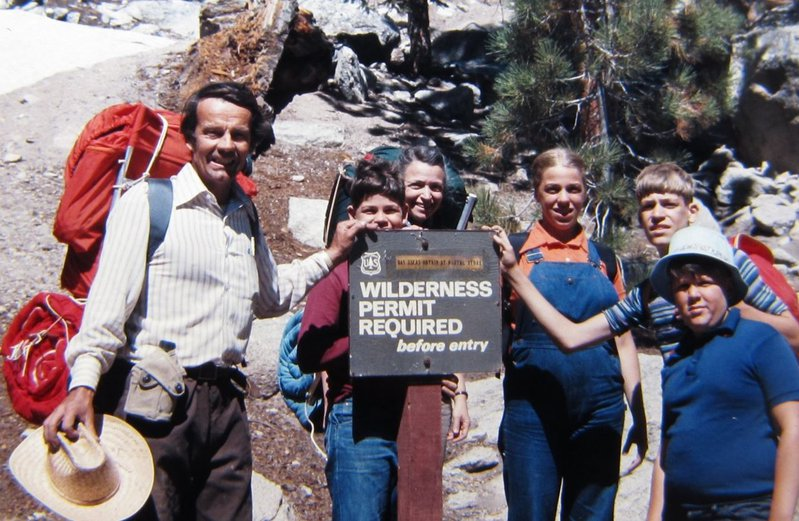 Millie, the kids, and Gene's brother hike up Mount Whitney in California. Photo Credit: Gene Dresselhaus