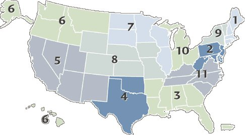 """<p><a href=""""#c11247_008.xhtml#fig_001a"""">Figure 8.1</a> A map generated in 2014 by UNOS of its 11 districts within which donated organs are registered and then distributed. UNOS.</p>"""