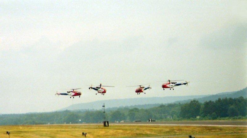 <p>The Four Aerospatiale SA.3160&nbsp;<em>Alouette III</em>&nbsp;of the Dutch&nbsp;<em>Grasshoppers</em>&nbsp;aerobatics team at Ramstein Air Base, Rhineland-Palatinate (Germany) on 24 June 1984.</p>