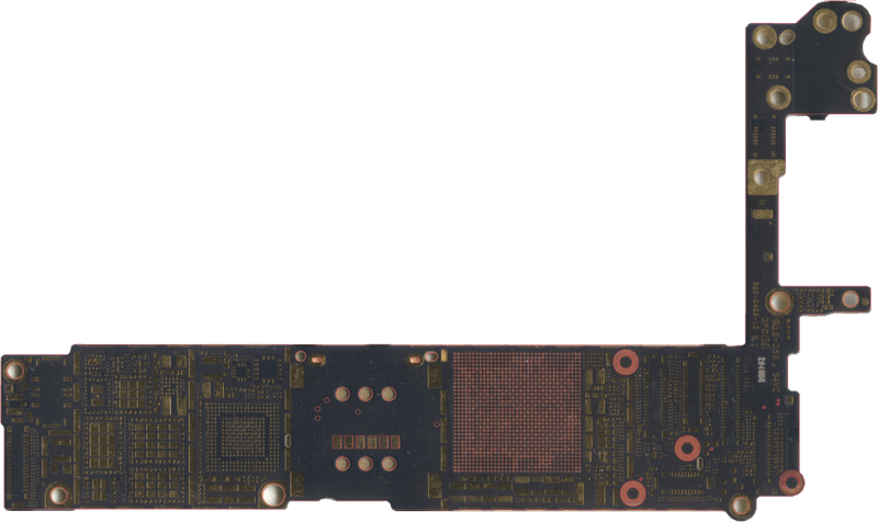 Figure 11A. Top side of the iPhone6 motherboard, rotation and scale-adjusted, cropped, and annotated with test points.