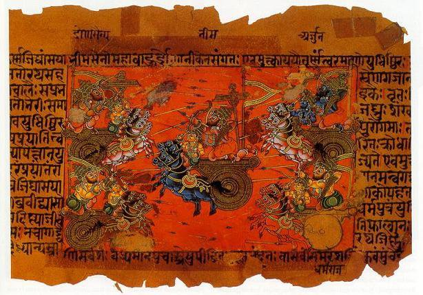 <p>The Mahabharata is an epic Sanskrit poem, passed down first as a collection of popular stories and performances before being written down in a collected text. Image is in the public domain.</p>