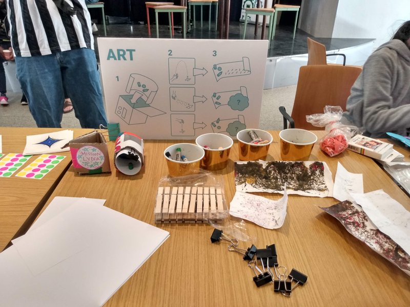 <p>Space art setup at a drop-in workshop.</p>